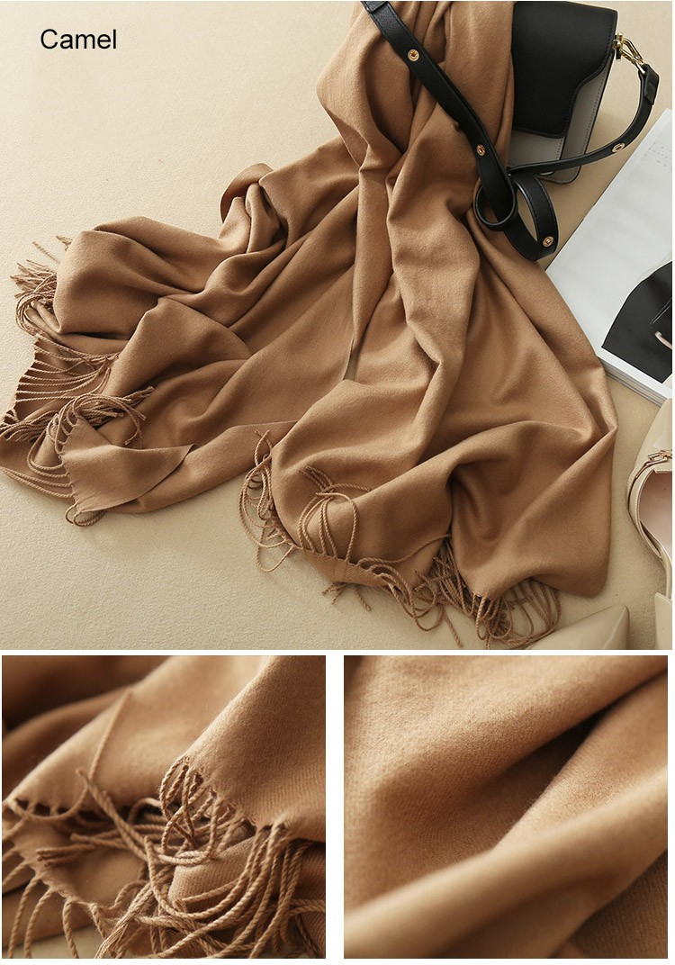 22 Color Options, Fringe-Trim Wrap Scarf in Wool