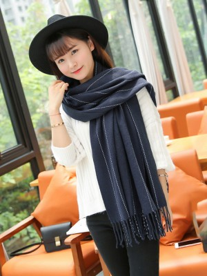 4 Color Options, Cozy Tassel Striped Scarf