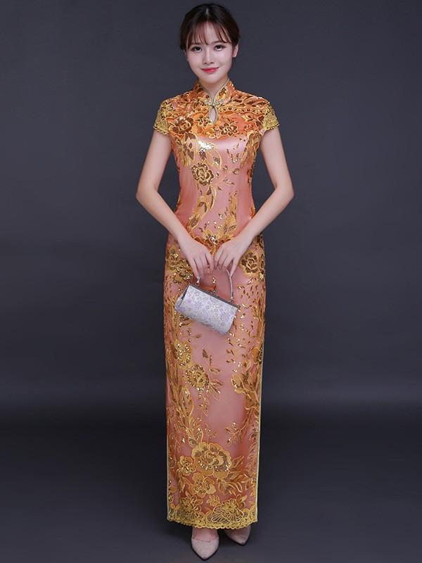 Epic Night Pink Sequined Qipao / Cheongsam Wedding Dress with Split