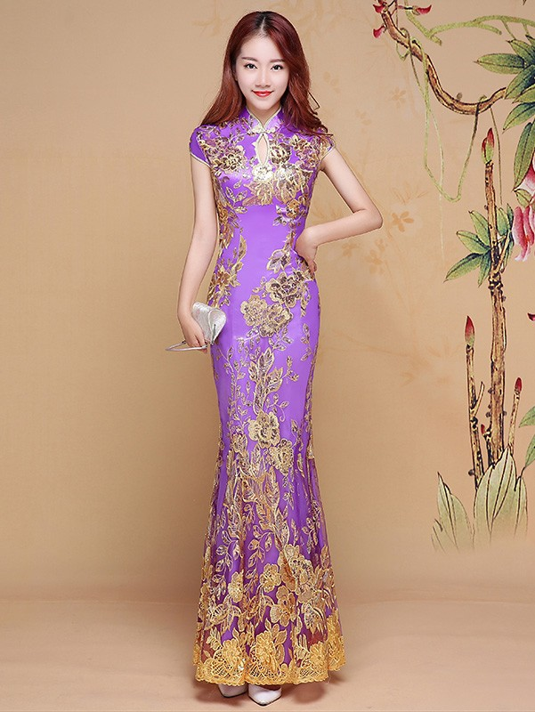 Timeless Purple Sequined Fishtail Qipao / Cheongsam Dress