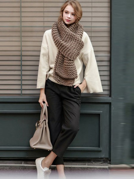 6 Color Options, Knit Long Scarf