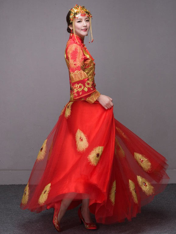 Phoenix Wedding Qun Kwa, Mandarin Collar Blouse & Maxi Skirt