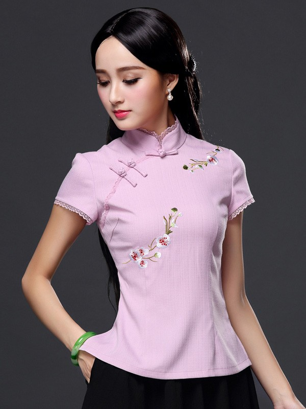 Floral Embroidery Qipao / Cheongsam Top