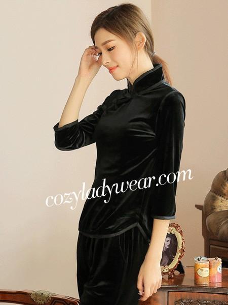Ritual Black Velvet Qipao / Cheongsam Dress