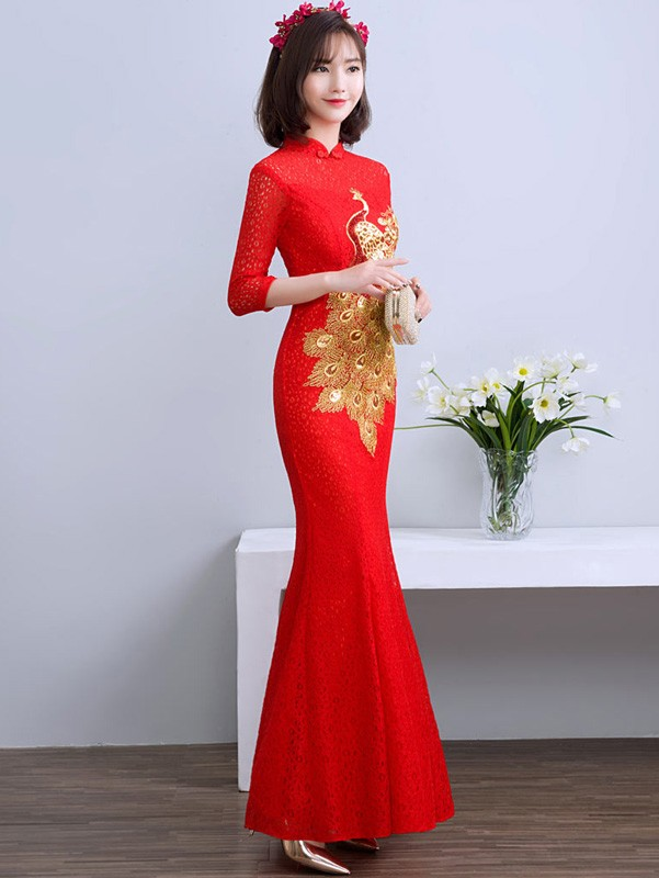 Red Lace Phoenix Qipao / Cheongsam Wedding Dress