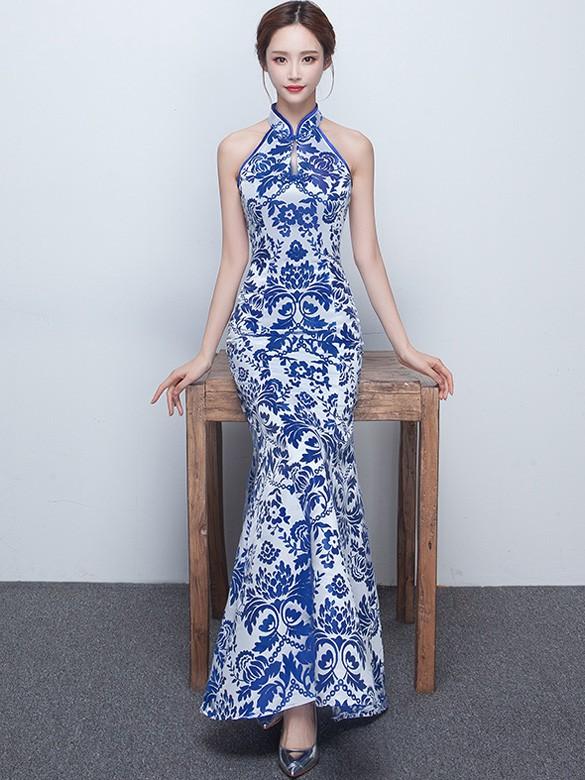 Blue Floral Halter Fishtail Qipao / Cheongsam Prom Dress