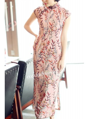 Love Pink Floral Chiffon Qipao / Cheongsam Dress with Split