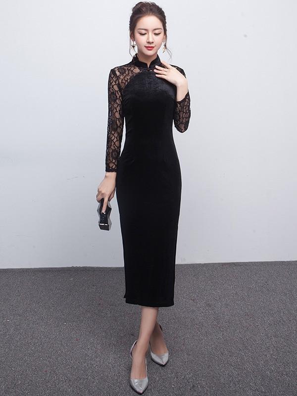 Black Velvet Qipao / Cheongsam Dress with Lace Sleeves