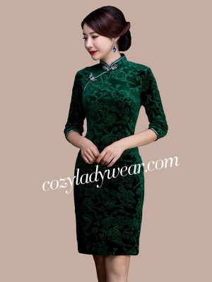 Ritual Green Floral Velvet Qipao / Cheongsam Dress