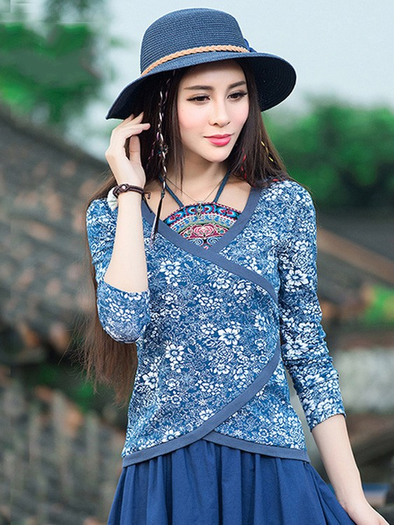 Asymmetric Halter Blue Floral Qipao / Cheongsam Top