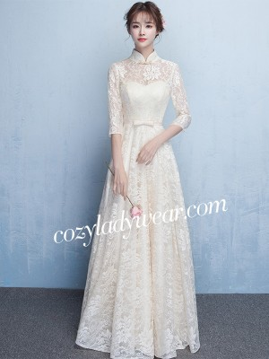Beige Lace Maxi Qipao / Cheongsam Dress with Tulle Skirt