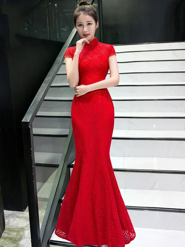 Delicate Red Lace Fishtail Qipao / Cheongsam Wedding Dress