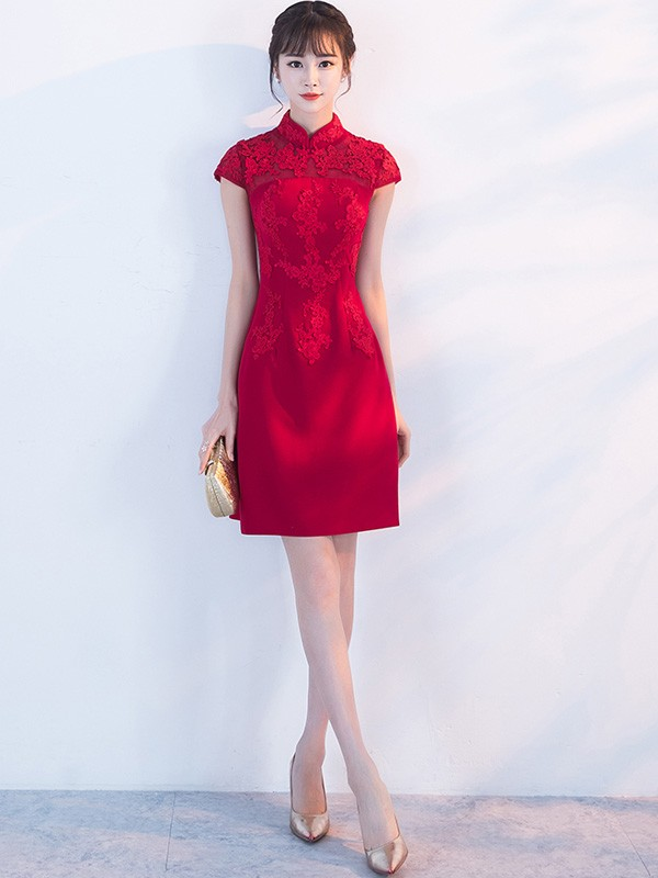 Chic A-line Qipao / Cheongsam Dress with Lace Insert