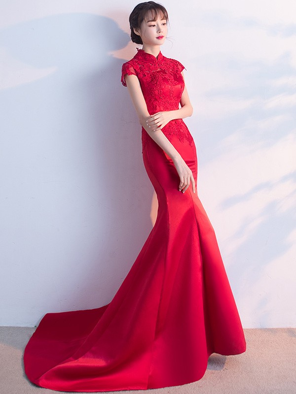 Red Mermaid Train Qipao / Cheongsam Wedding Dress with Lace Top