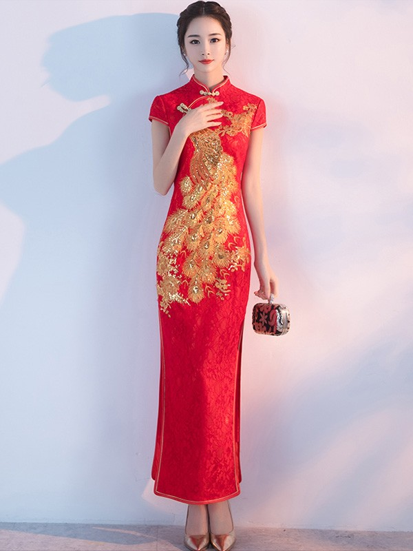 Red Lace Phoenix Split Qipao / Cheongsam Wedding Dress