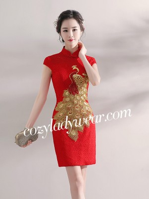 Bright Red Phoenix Qipao / Cheongsam Wedding Dress