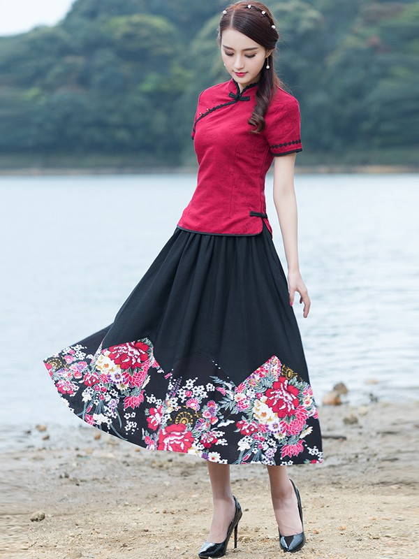 Rose Red Linen Qipao / Cheongsam Top