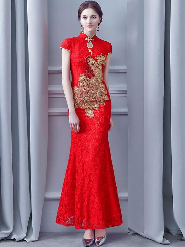 Red Lace Long Phoenix Qipao / Cheongsam Wedding Dress