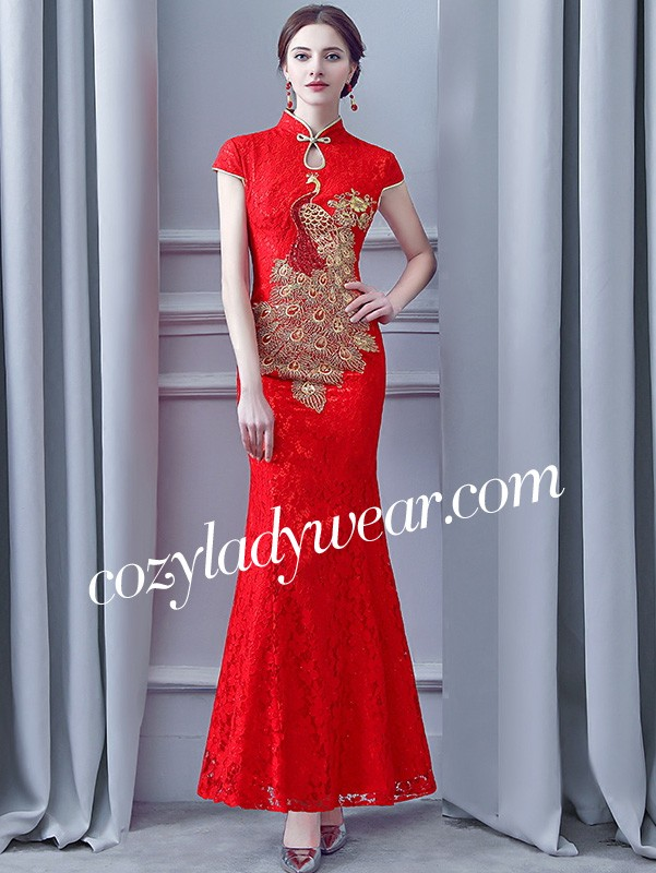 189c9c90526ea Red Lace Long Phoenix Qipao / Cheongsam Wedding Dress - CozyLadyWear