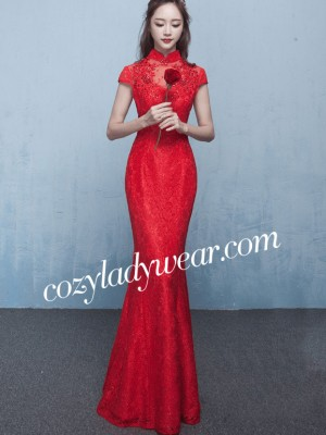 Red Lace Fishtail Qipao / Cheongsam Gown in Sequins