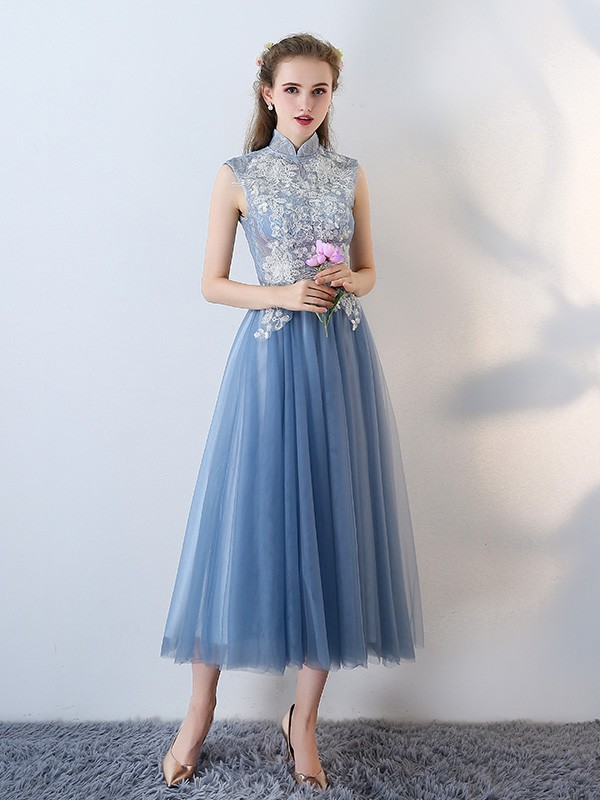 Blue Bridesmaid Tulle Qipao / Cheongsam Dress with Cutout Back