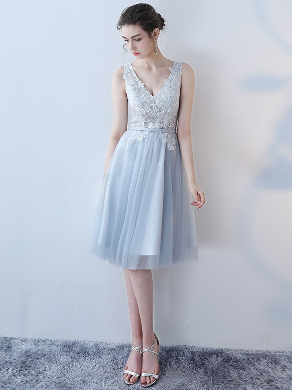 Gray Lace Top Bridesmaid Qipao / Cheongsam Dress with Tulle Skirt