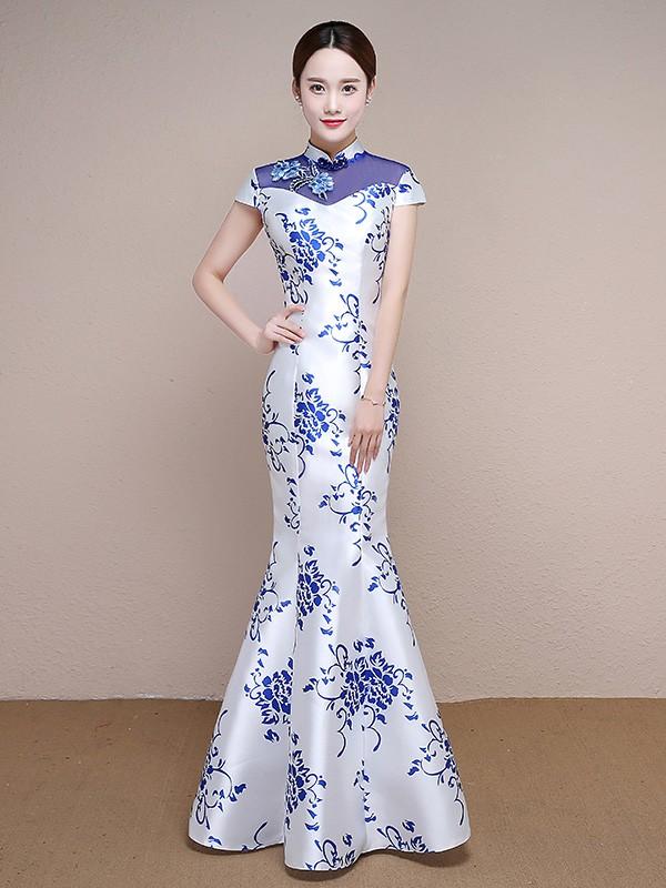 white and blue floral print qipao cheongsam formal dress
