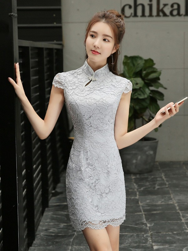 Forevermore Gray Lace Qipao / Cheongsam Dress