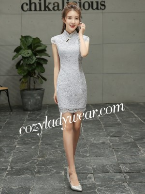 Forevermore Short Gray Lace Qipao / Cheongsam Dress