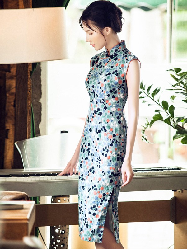 Chic Midi Blue Floral Print Qipao / Cheongsam Dress