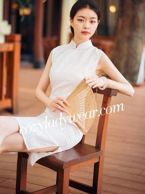 White Grid Qipao / Cheongsam Dress in Organza