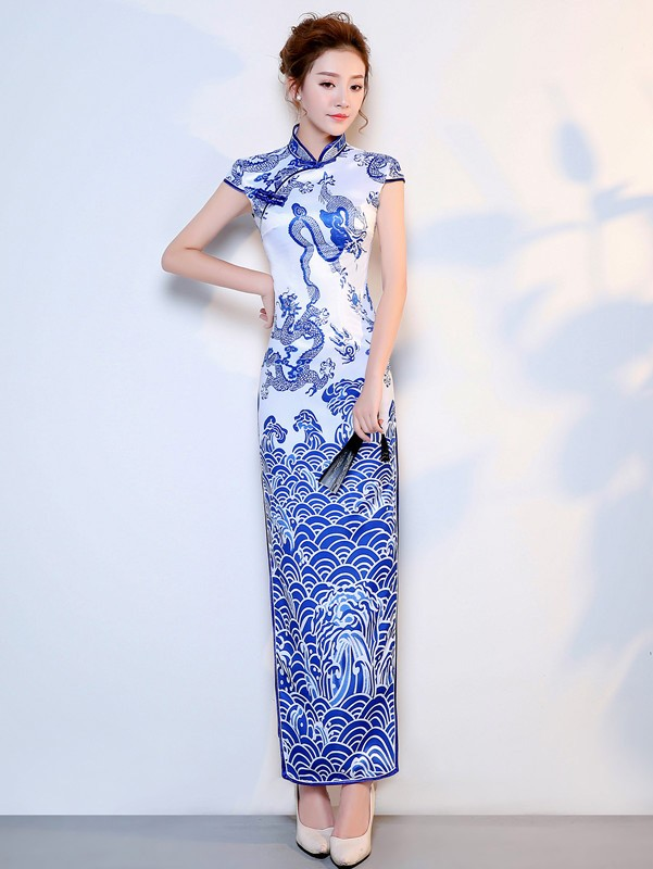 Blue and White Dragon Woven Qipao / Cheongsam Party Dress