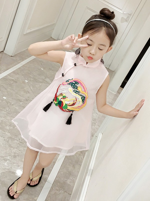 Girl's Embroidered Cheongsam / Qipao Dress
