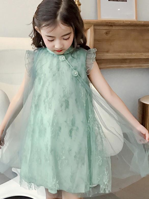 Girl's Embroidered Fairy Cheongsam / Qipao Dress with Ruffle Sleeve