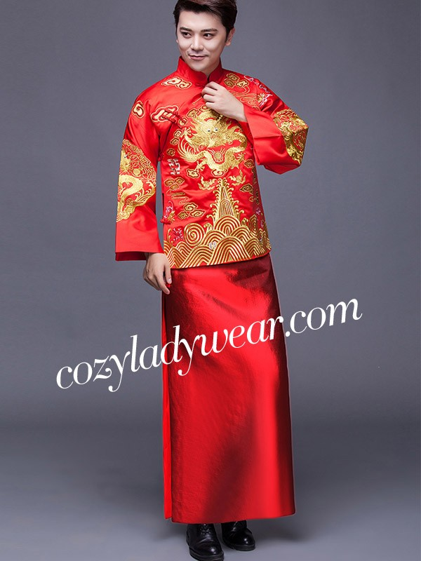 Red Embroidered Men S Chinese Wedding Suit Jacket Amp Gown