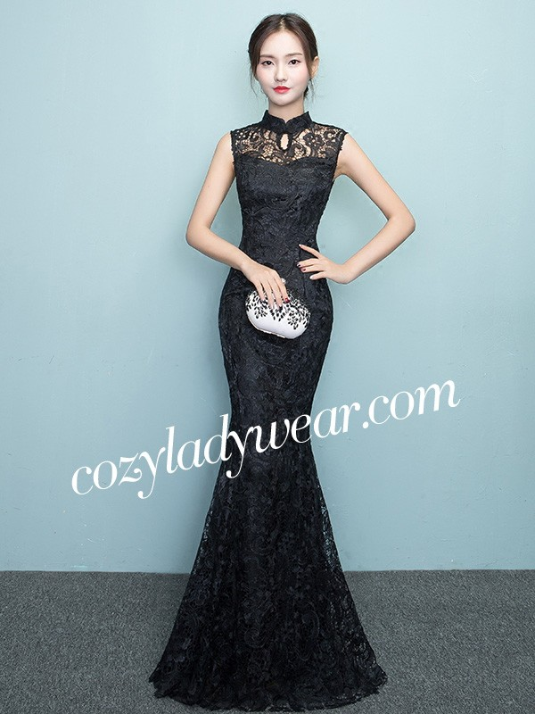 aeb6c01c7c0a4 Red Full Length Lace Qipao / Cheongsam Prom Dress - CozyLadyWear