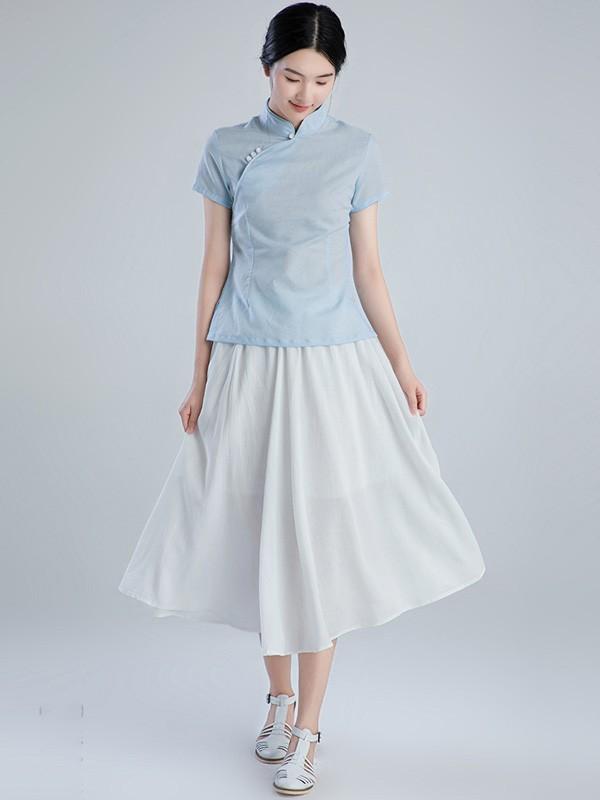 Chic Linen Qipao / Cheongsam Blouse