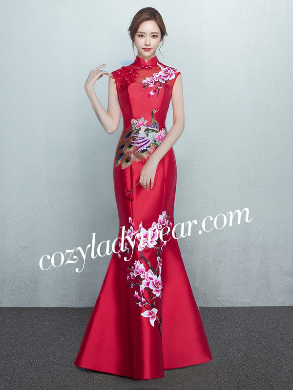 a02675ad72fa5 Wine Red Mermaid Qipao / Cheongsam Dress with Floral Embroidery. Loading  zoom