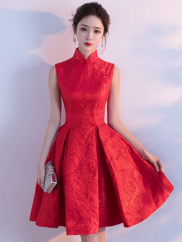 Red Fit & Flare Qipao / Cheongsam Wedding Dress
