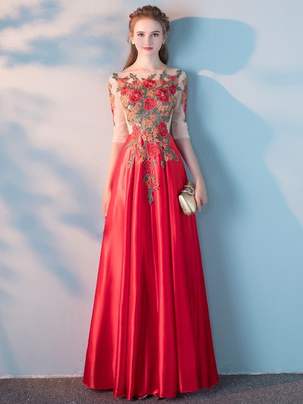 Floor Length Embroidered Bodice Prom Gown with Half Sleeve