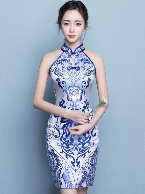 Halter Qipao / Cheongsam Dress in Blue and White Pattern