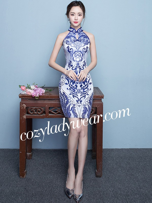 aed88207586e Halter Qipao / Cheongsam Dress in Blue and White Pattern - CozyLadyWear