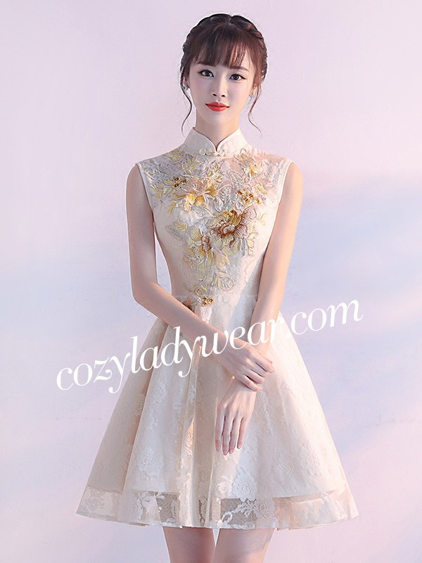 7c76dfcc69b Fit   Flare Embroidered Bridesmaids Qipao   Cheongsam Dress. Loading zoom