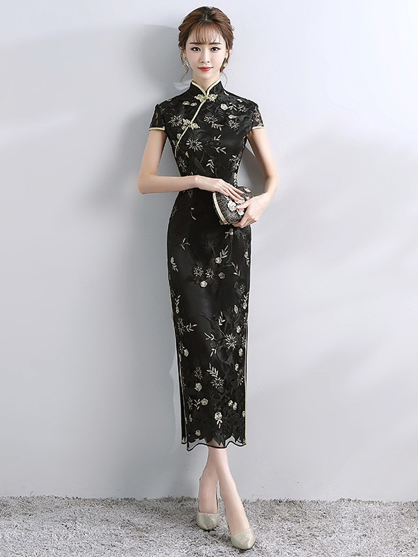 323725c4187 Floral Embroidered Long Qipao   Cheongsam Wedding Dress - CozyLadyWear