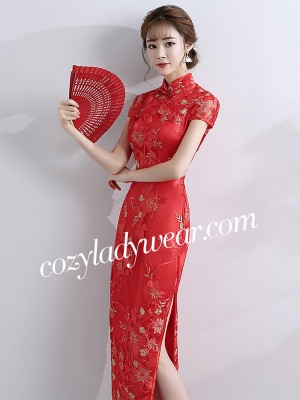 Floral Embroidered Long Qipao / Cheongsam Wedding Dress