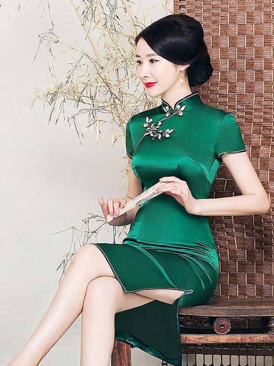 Forest Green Silk Midi Qipao / Cheongsam Dress