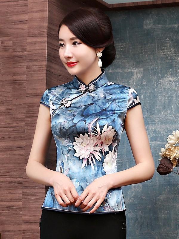Blue Floral Printed Silk Qipao / Cheongsam Top