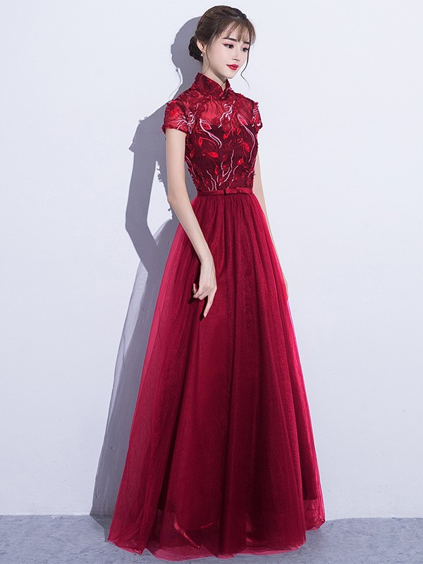 Embroidered Purple Qipao / Cheongsam Dress with Tulle Skirt