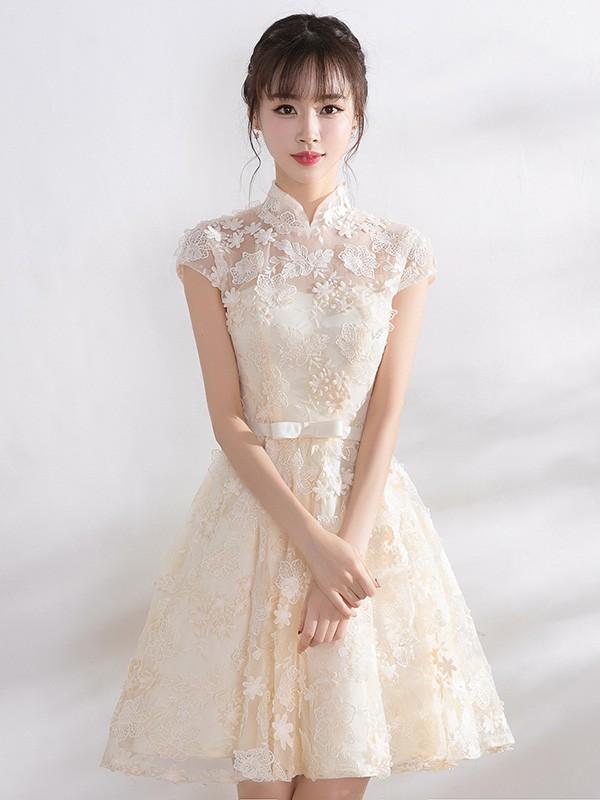 Bridesmaid Lace A-Line Illusion Qipao / Cheongsam Dress