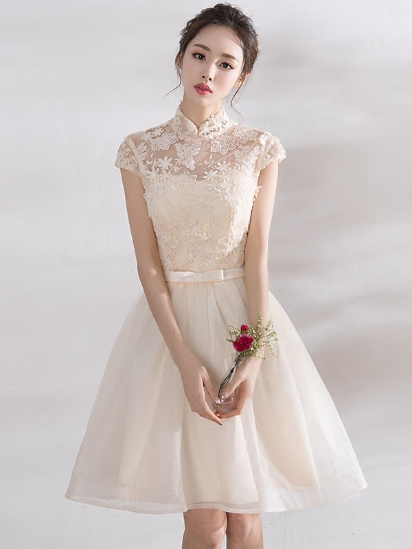 Bridesmaid A-Line Qipao / Cheongsam Dress with Tulle Skirt